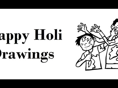 How to draw Happy holi cards| Drawing celebration ideas