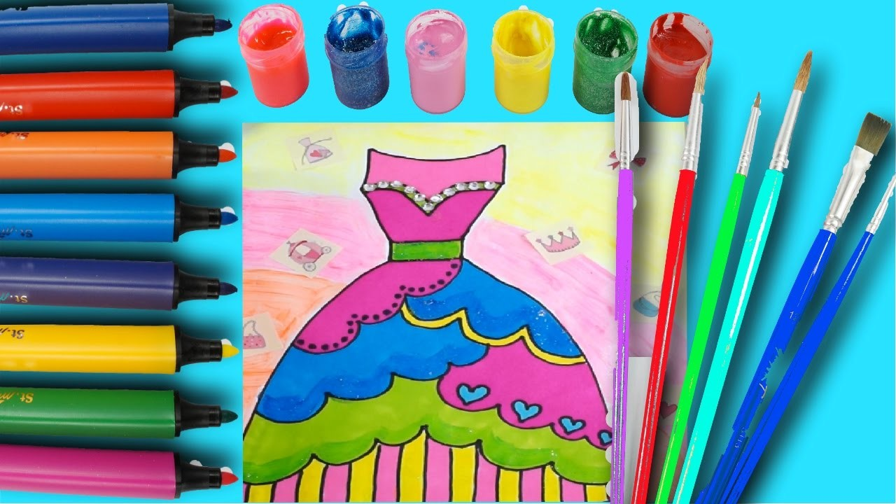 How to Draw pretty dress Coloring page for kids learn coloring marker