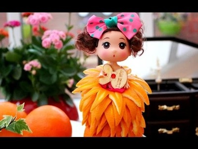 How To Make A Barbie Orange Dress ???? | Fruit Carving Garnish | Food Decoration | Party Garnish