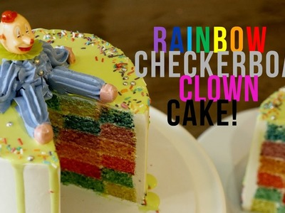 HOW TO MAKE A RAINBOW CHECKERBOARD CLOWN CAKE - BAKE BITES