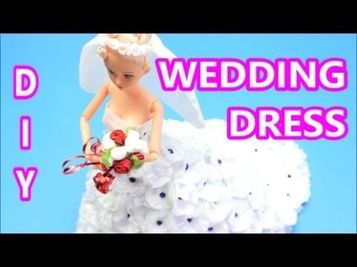 How to Make a White Wedding Dress from Tissue Paper | DIY Paper Doll Dress:| Doll Dress Fun