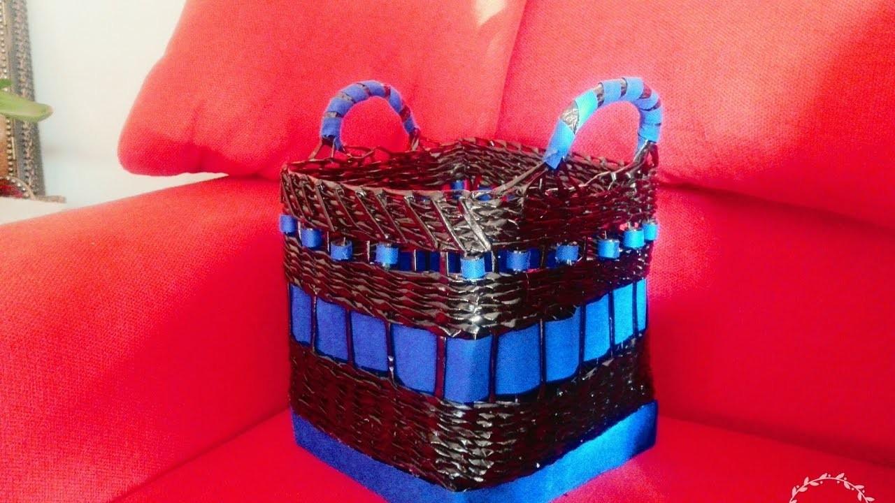 How to make basket from newspapers, Cesta de tejido de periódicos