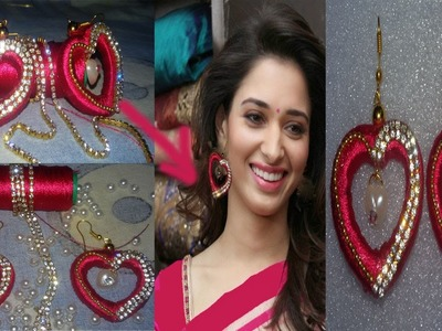 How to make beautiful love shape silk thread earrings ! making silk thread earrings ! at home