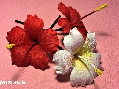 How to make beautiful origami hibiscus paper Flower.crepe paper Flower making ,Craft paper tutorial