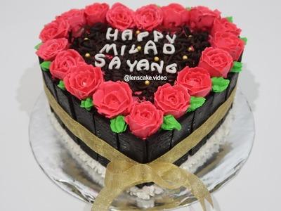 How to Make Birthday Cake Heart Love Easy - Cara Membuat Kue Ulang Tahun Yang Mudah Bentuk Love