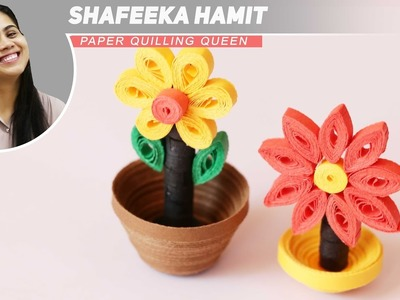 How To Make Bright Quilling Miniature Flower Pot in 3D, diy
