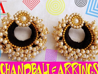 How to make Chandbali Silk Thread Earrings with loreals | Tutorial