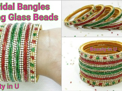 How to make Designer Silk Thread Bridal Bangles with Glass beads at Home | Tutorial