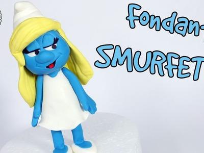 How to make fondant Smurfette cake topper tutorial