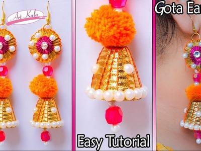 How to make gota earrings at home | Paper earrings | Tutorial | Artkala 132
