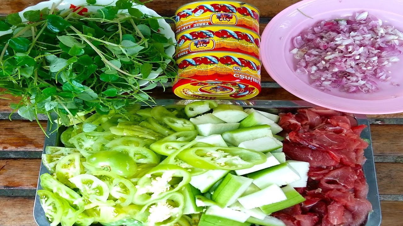 How To Make Healthy Fried Beef With Vegetables - Cambodian Food
