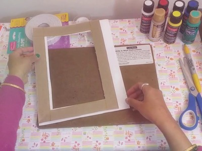 HOW TO MAKE PHOTO FRAME WITH RECYCLE THINGS AND RIBBONS.