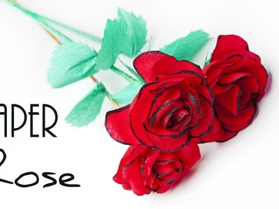 How to make Rose paper flower  ???? Crepe paper flowers