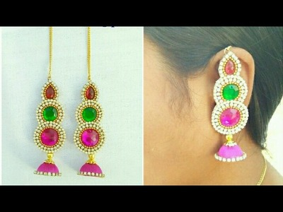 How To Make Silk Thread Earrings (Maatilu) With Side Chain. Buttalu. Jhumkhas. DIY. Tutorial