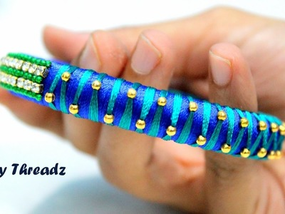 How to make Silk Thread Gold Bead Bangles at Home | Tutorial | Knotty Threadz !!
