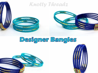 How to make Simple  Designer Silk Thread Bangle Set using Gold Baby Tubes | Split Bangle  | Tutorial