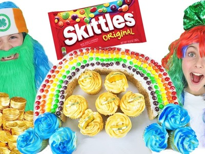 How To Make St Patricks Day Rainbow Skittles Rice Krispies Cupcake Dessert DIY Kids Cooking Crafts