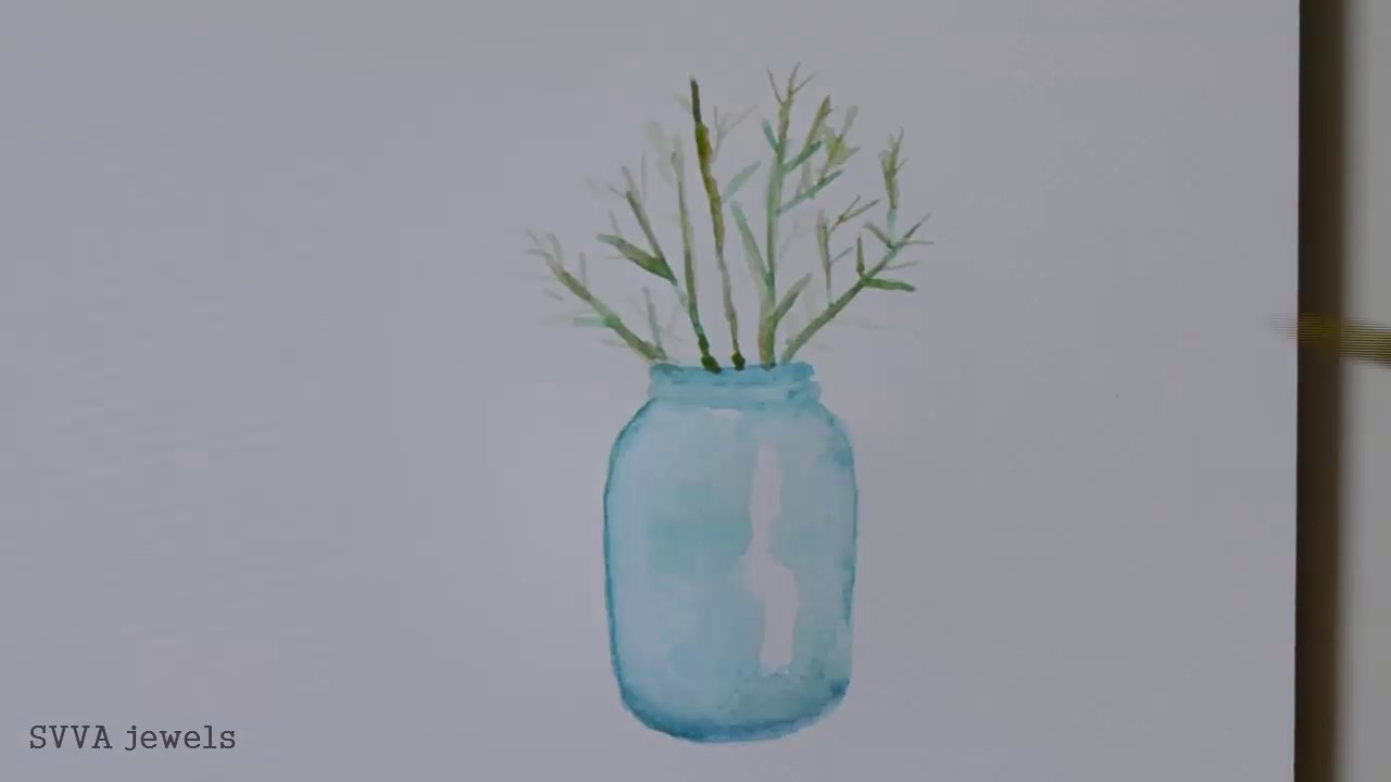 How to Paint Flowers in a Glass Jar (No-pre Drawing)