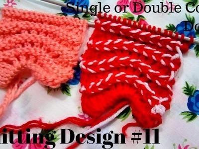 Knitting Design #11 | Single Colour and Double Colour Design | Easy Tutorial