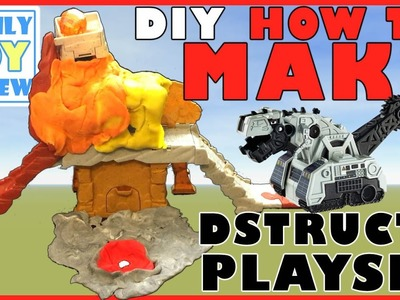 New Dinotrux Toys D-Structs Lair - HOW TO MAKE Dstructs Erupt & Destruct Cave Playset Volcano
