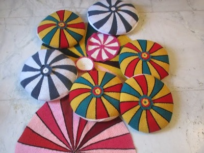 Round pattern :-  cushion cover,table mat and coaster using knitting needle[Hindi]