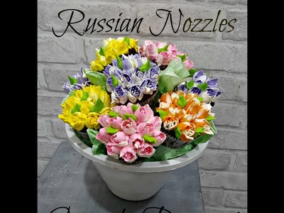 Russian nozzles butttercream cupcake bouquet- How to- DIY