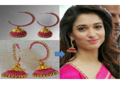 Simple & beautiful silk thread earring ! thamanna special earrings ! how to make silk thread earring