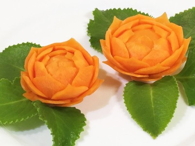 Very Beautiful Carrot Flower Carving Garnish - How To Make Vegetable Carving Designs