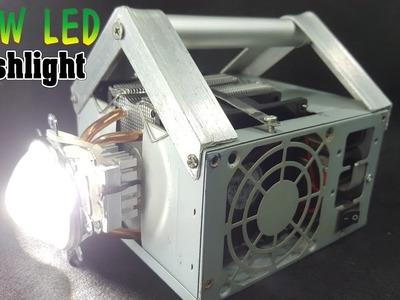 DIY 9000 Lumens 100W LED Flashlight Mounted in PC Power Supply