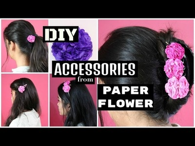 DIY Accessories from Tissue Paper Pom-Pom Flowers !