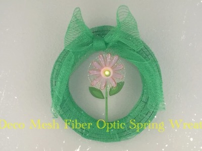 DIY Dollar Tree Deco Mesh Fiber Optic Fantasy Spring Wreath - Easy $3