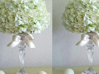 DIY ELEGANT HYDRANGEAS FLOWER BALL WITH CRYSTAL CANDLE HOLDER. WEDDINGS, RECEPTIONS, SPECIAL EVENTS