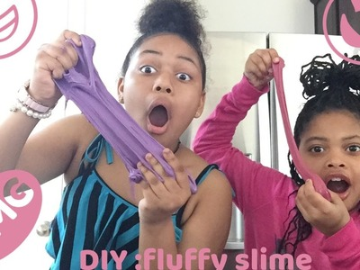 DIY FUN easy steps to making Fluffy slime purple . red . pink || swagg sisters