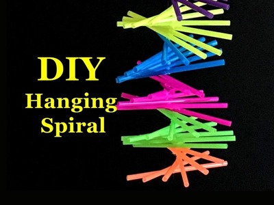 DIY Hanging Sprial using Drinking Straws   Recycle project