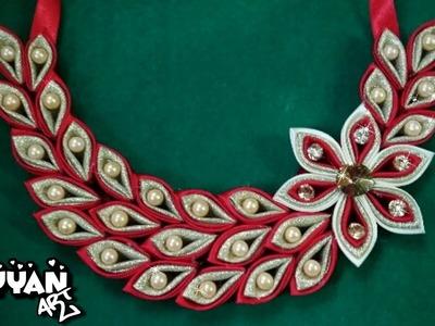 DIY Kanzashi Necklace 03. Ожерелье канзаси 03