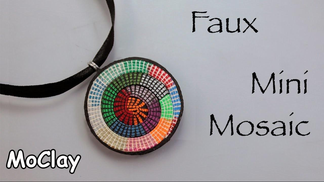 DIY Mosaic spiral pendant - Chalk Pens on polymer clay