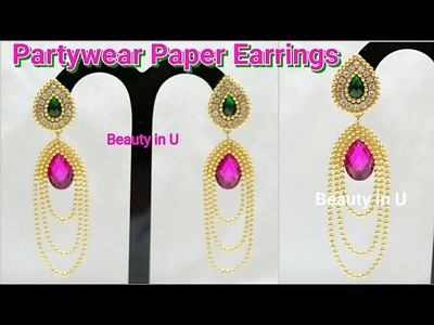 DIY | Partywear Paper Earrings making at Home | Earrings Made Out of Paper | Tutorial