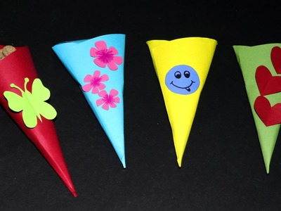Fun Paper Crafts for Kids - Paper Cone Toffee Case, Very Simple & Easy