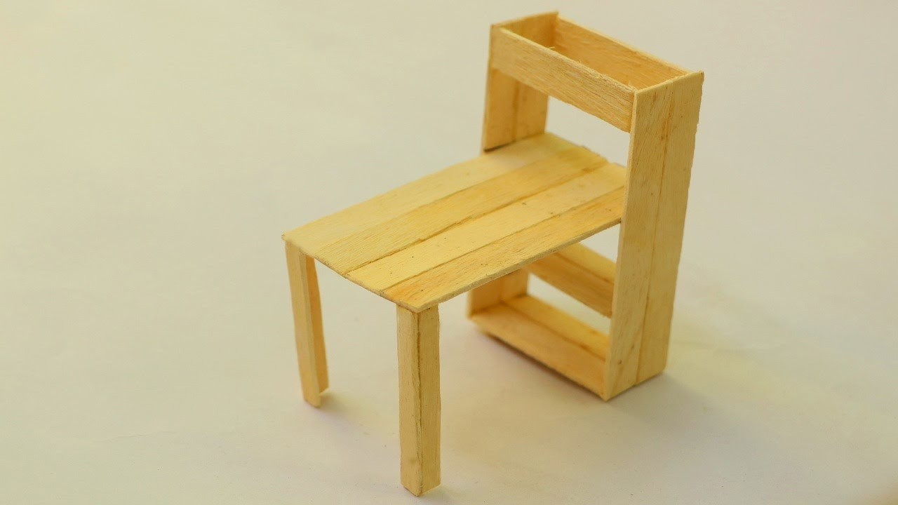 How to make a popsicle stick table   DIY Wooden Home Furniture
