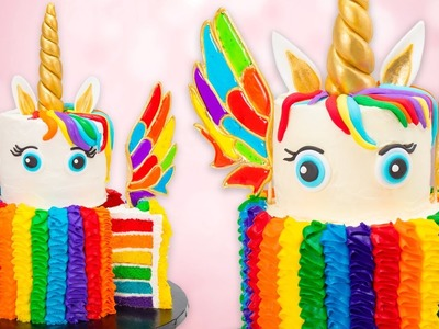 How to Make a Rainbow Unicorn Cake w. Isomalt Wings Recipe