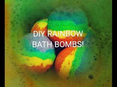 How to make  Rainbow Bath Bombs + DEMO float and foam