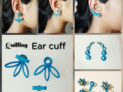 Making Ear cuff with Quilling||Back stud earrings||Eco friendly Paper earrings