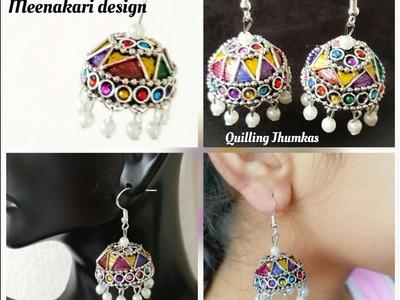 Making Quilling Jhumkas Meenakari design style. |Paper Jhumkas