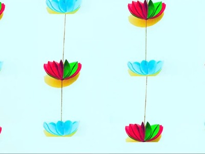 Paper flower garland home decoration | DIY wall Decoration Paper flowers jhalar | Door decor