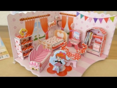 Paper handmade bedroom dollhouse origami toy