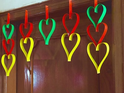 Paper Heart door Decor | DIY Door hanging Decoration flower garland