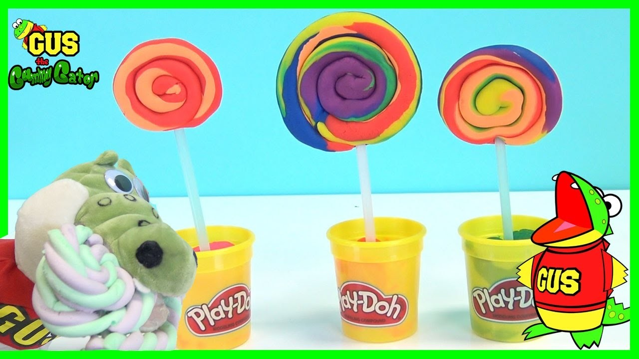 Play Doh Rainbow Lollipop! How to make DIY playdough desserts for Children Creative Play