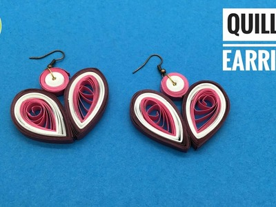 Quilling Heart Earrings - Design 9 - DIY Tutorial by Paper Folds