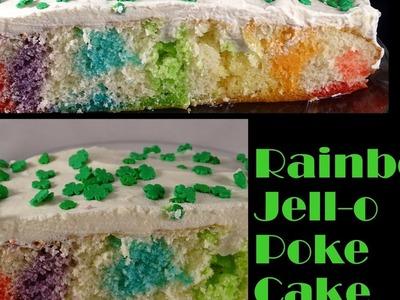 Rainbow Jello Poke Cake - with yoyomax12