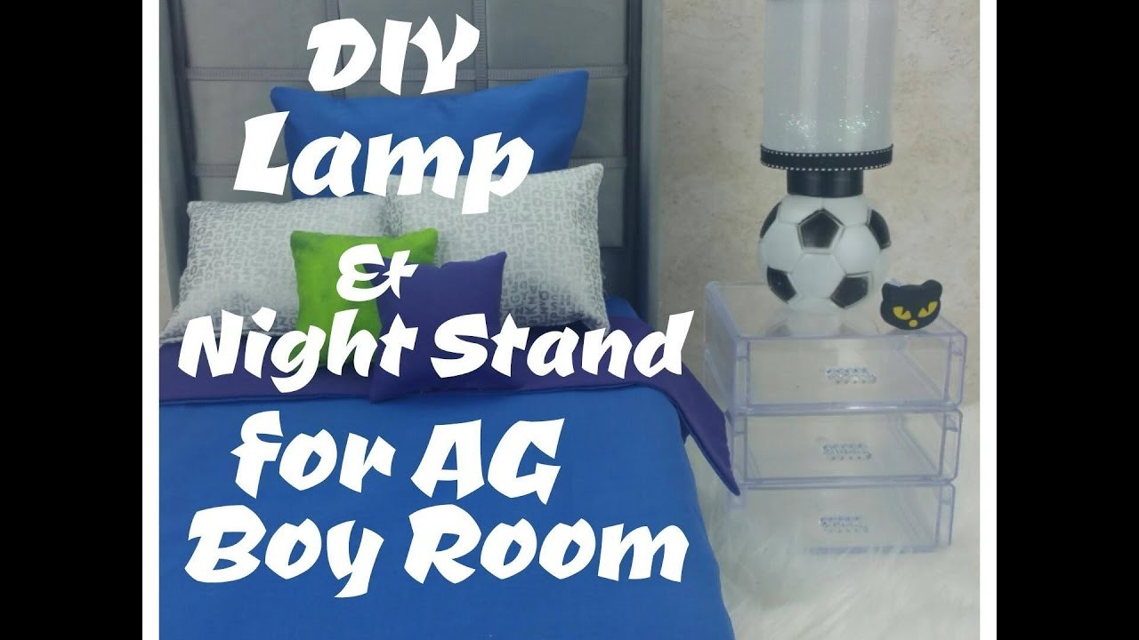 SUPER EASY DIY NIGHT STAND and LAMP FOR AG DOLL BOY'S ROOM